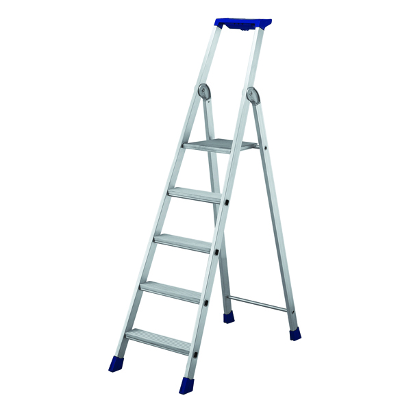 5 Ribbed Tread Platform Step Ladder Aluminium 358755