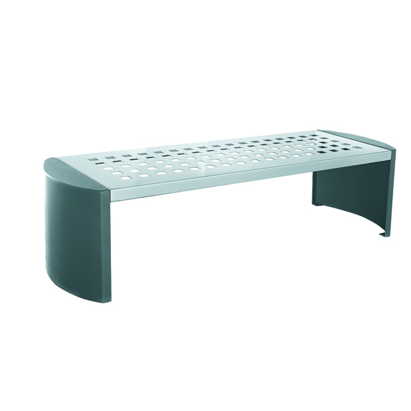 Silver and Black Cast Iron Backless Bench 370111
