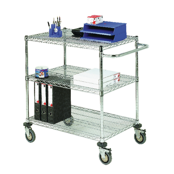 Mobile Trolley 3-Tier Chrome 372998
