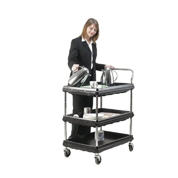 Deep Ledge 3 Tier Black W984xD689xH1041mm Trolley 375056