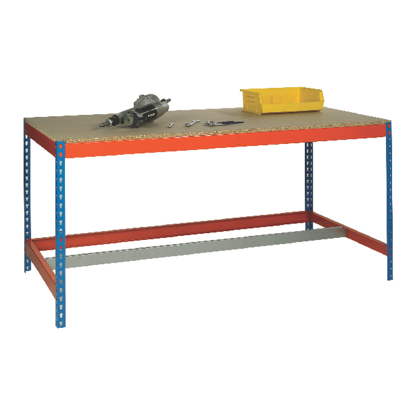 Blue and Orange Workbench With Lower Bar L1800xW900xD900mm 378941