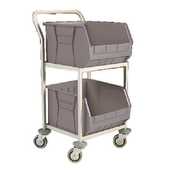 Grey Mobile Storage Trolley c/w 2 Bins 383414