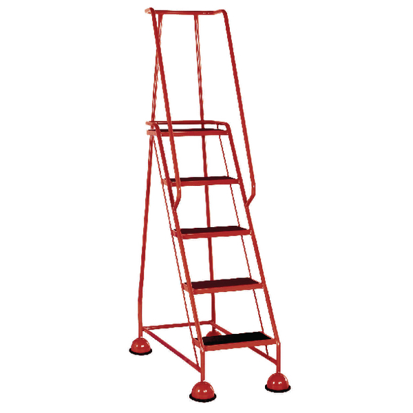 Red 5 Tread Metal Rubber Steps 125kg Max 385143