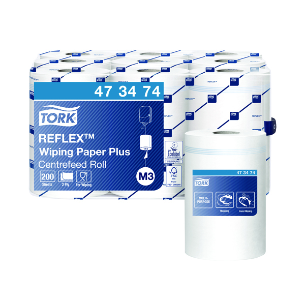 Tork Reflex White 2 Ply Mini Wiper Roll (9 Pack) 473474