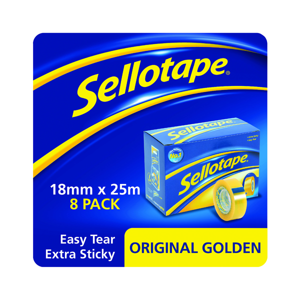 Sellotape Original Golden Tape 18mm x 25m (8 Pack) 1569069