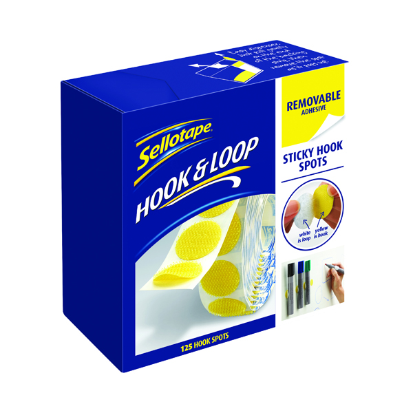 Sellotape Hook Spots Removable Yellow (125 Pack) 2055787
