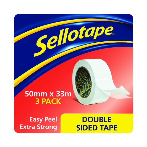 Sellotape Double Sided Tape 50mm x33m (3 Pack) 1447054