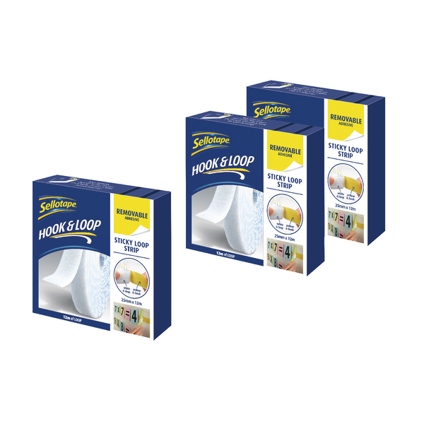 Sellotape Loop Strip 25mm x 12m Removable White (3 Pack) SE810851