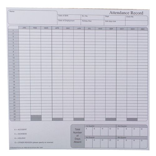 Sigma Attendance Record Card (Pack of 50) G401R