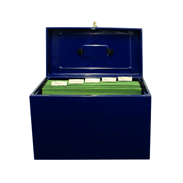 Cathedral Foolscap Blue Metal File Box HOBL
