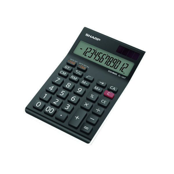 Sharp Black EL-124AT Desktop Calculator EL124ATWH
