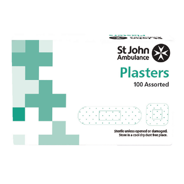 St John Ambulance Detectable Plasters Blue Assorted Sizes (100 Pack) F94024