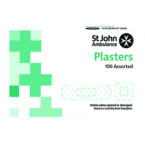 St John Ambulance Fabric Plasters Assorted Sizes (100 Pack) F94026