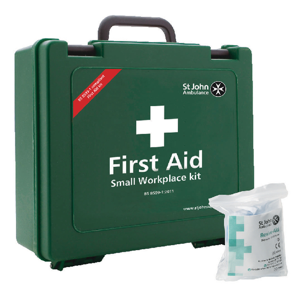 St John Ambulance Small First Aid Kit 25 Person (Pack of 1 with FOC Revive-Aid) SJA844007