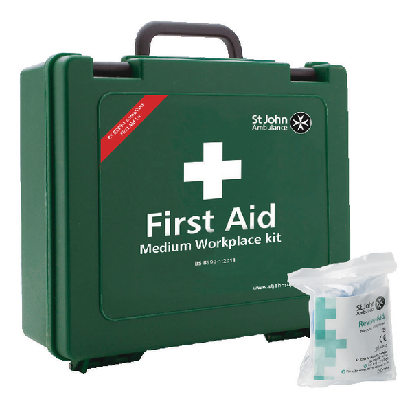 St John Ambulance Medium First Aid Kit 25-50 Person (Pack of 1 with FOC Revive-Aid) SJA844008