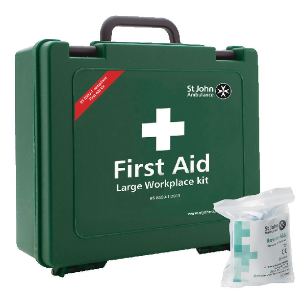 St John Ambulance Large First Aid Kit 100 Person (Pack of 1 with FOC Revive-Aid) SJA844009