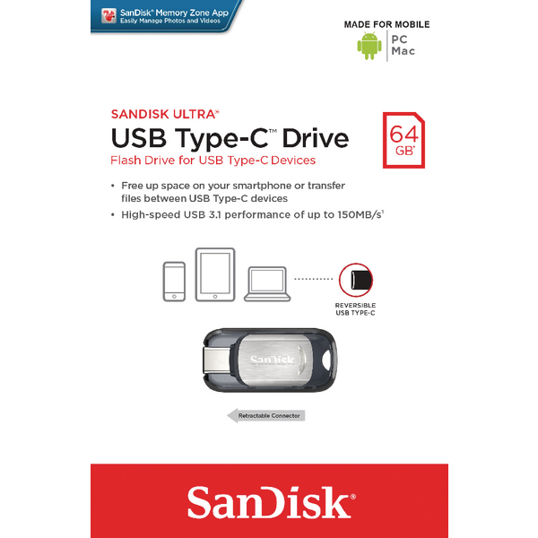 SanDisk Ultra 64GB USB 3.1 Flash Drive Type C SDCZ450-064G-G46