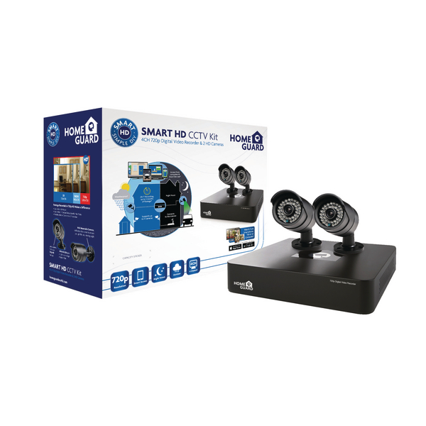 HomeGuard Smart HD CCTV Kit 4 Channel 2 Cameras 500GB 118166