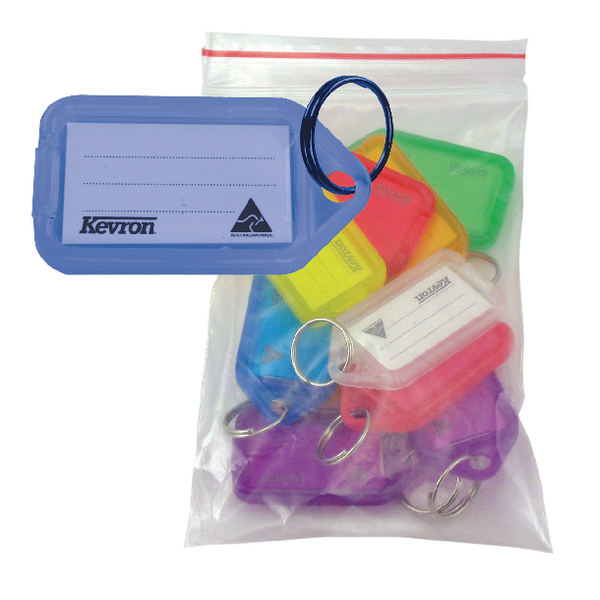 Kevron Clicktag Plastic Blue (Pack of 100) plus 20 Standard Key Tags FOC