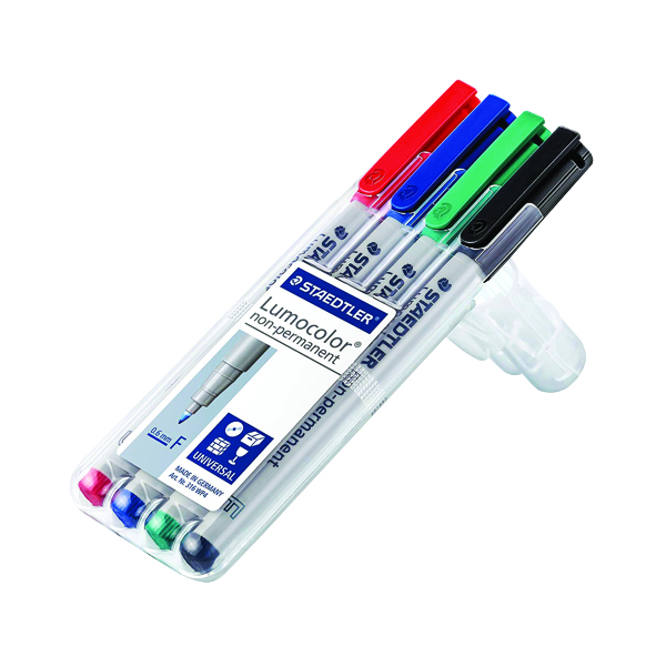 Staedtler Lumocolor Fine Tip Water Soluble OHP Pen Assorted (4 Pack) 316-WP4