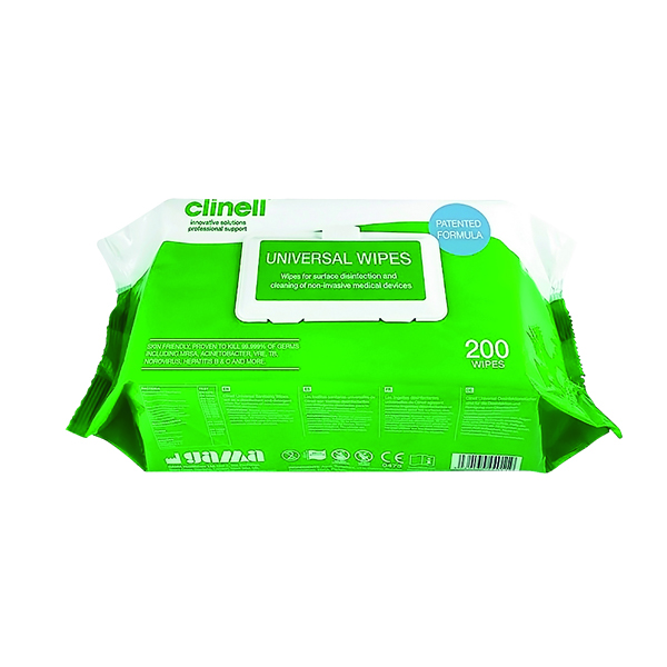 Clinell Universal Sanitising Wipes 200 (6 Pack) GCW200