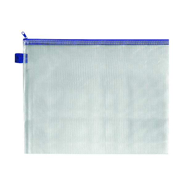 BDS Mesh Zip Bag 360x275mm Blue (5 Pack) ZIPPER BLUE