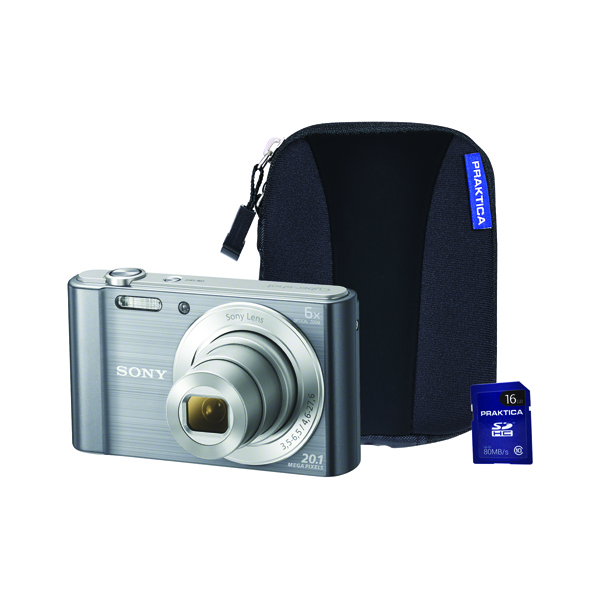 Sony DSC-W810 Digital Camera Bundle with 16GB SD Card and Case Silver SON2608