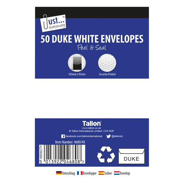 Tallon Duke White 50 Peel & Seal Envelopes (12 Pack) TA04680