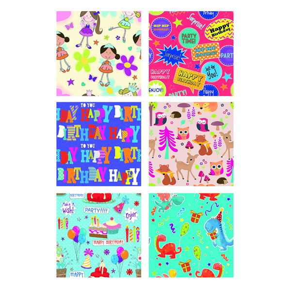 Tallon Assorted Childrens Gift Wrap 3m x 70cm (36 Pack) 1471/72