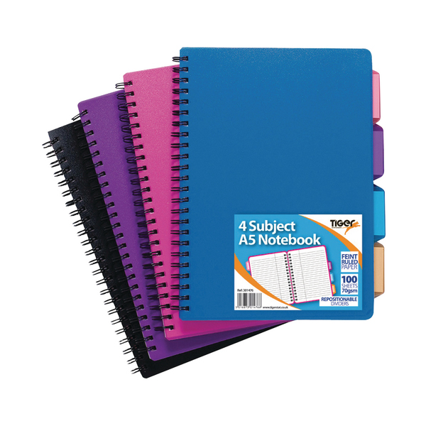 A5 Assorted Subject Notebook (5 Pack) 301476