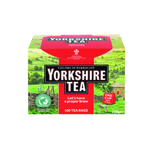 Yorkshire Tea One Cup String and Tag Tea Bags (100 Pack) 2680UK
