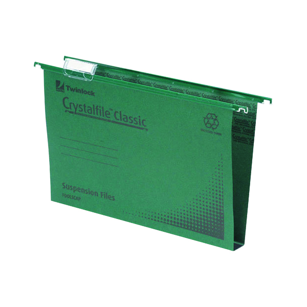 Rexel Crystalfile Classic Suspension File Complete 30mm Foolscap Green (50 Pack) 78041