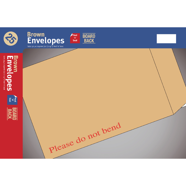 Board-Backed C5 Envelope Peel And Seal Manilla (25 Pack) UB70059