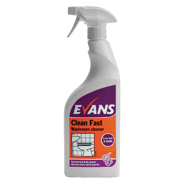 Evans Clean Fast Heavy Duty Washroom Cleaner Spray Bottle 750ml (6 Pack) A010AEV