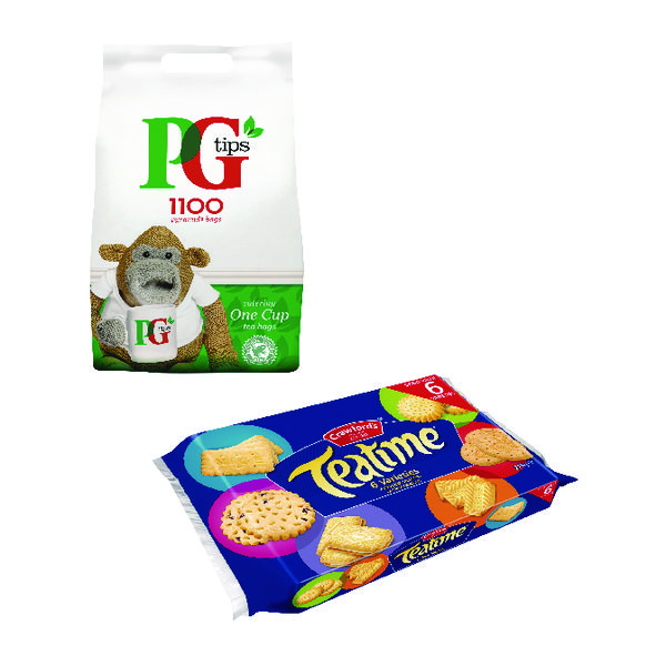 PG One Cup Pyramid Tea Bags (1100 Pack) Plus Free Biscuits VF819645