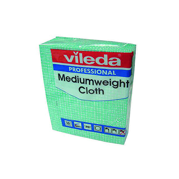 Vileda Green Medium Weight Cloth (10 Pack) 106401