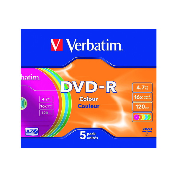 Verbatim 4.7GB Non Printable Jewel Case DVD-R (5 Pack) 43557