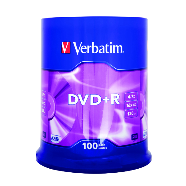 Verbatim 4.7GB 16x Speed Jewel Case DVD+R (100 Pack) 43551