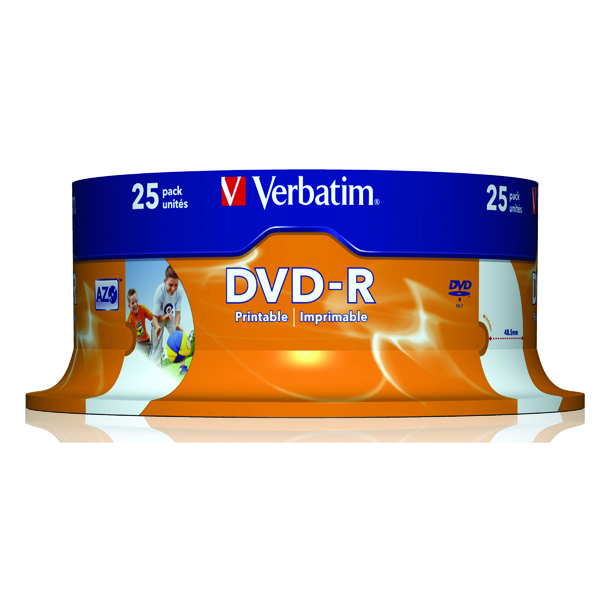 Verbatim 4.7GB 16x Speed Spindle DVD-R (25 Pack) 43538