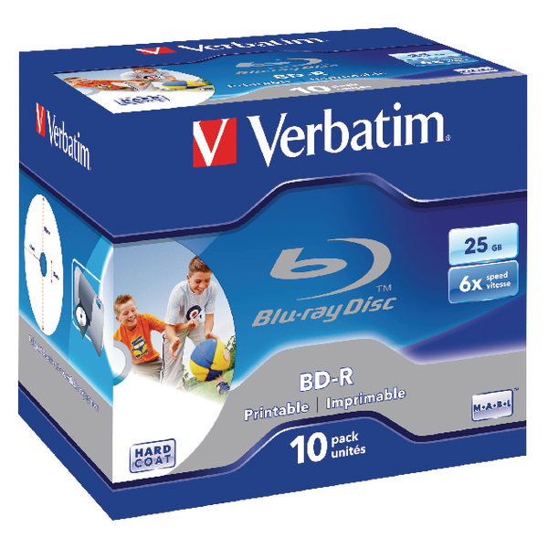 Verbatim Blu-ray BD-R 25 GB 6x Jewel Case (10 Pack) 43713