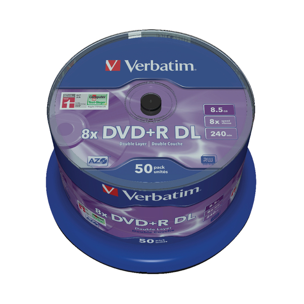 Verbatim 8.5GB 8X DVD+R Dual Layer Discs (Spindle of 50 Pack) 43758