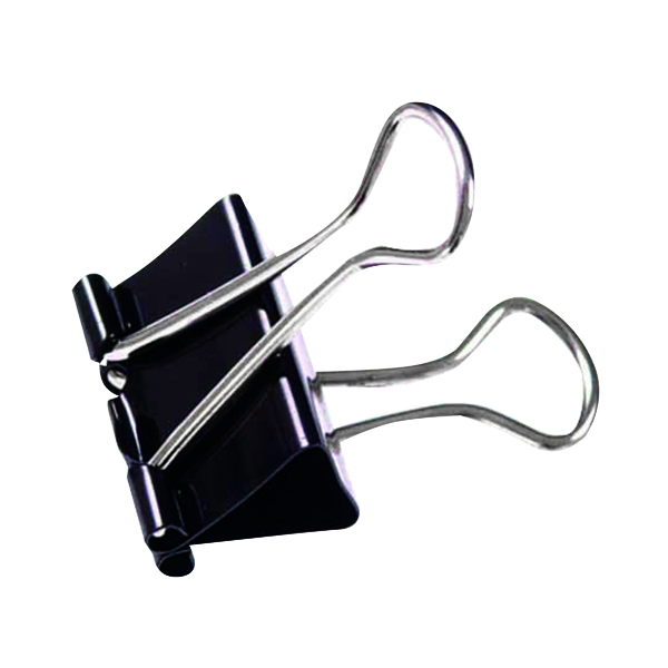 19mm Black Foldback Clip (100 Pack) 22481