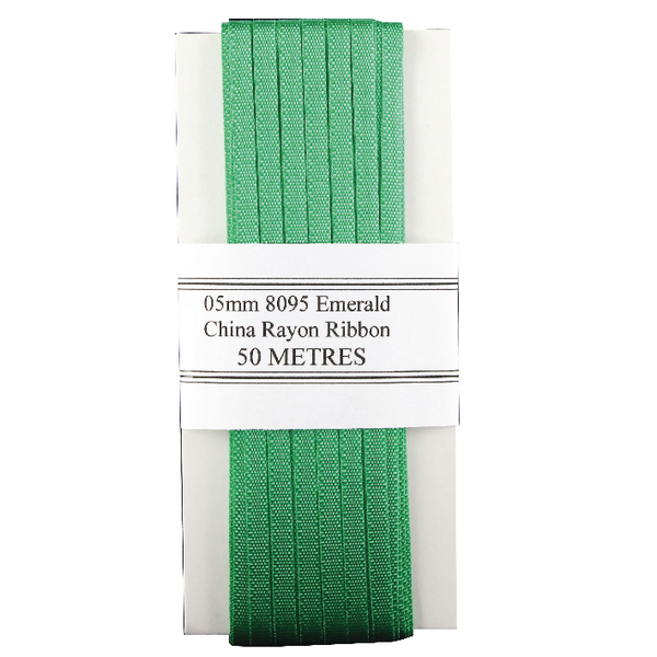 China Ribbon Rayon Green Card 5mmx50m 8095005EME00