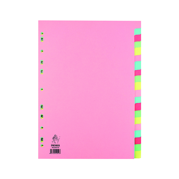 Manilla A4 Divider 20-Part Pink With Multi-Colour Tabs WX01517