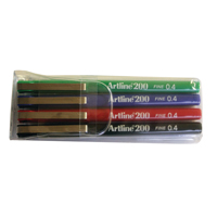 Artline 200 Fineliner Assorted (Pack of 4) EK200