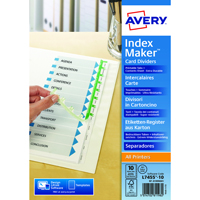 Avery Index Maker A4 Extra-Wide 10-Part White Divider 01999001