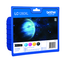Brother LC-1280XL Cyan/Magenta/Yellow/Black High Yield Inkjet Cartridges (Pack of 4) LC1280XLVALBP