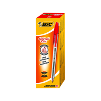Bic Red Cristal Clic Retractable Ballpoint Pen (Pack of 20) 850734