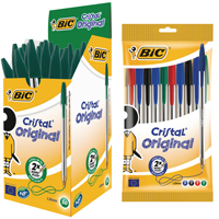BIC Cristal Medium Green with free assorted (Pack of 10)