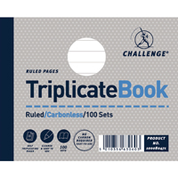 Challenge Triplicate Book Ruled Carbonless 100 Sets 105 x 130mm Pack of 5 100080471